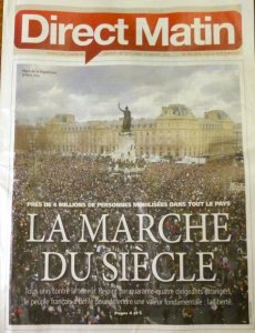 Cover of metro paper. 1 1/2 million people marched on Sunday Jan 14