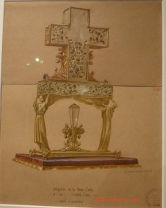 Viollet-le-Duc's original drawing of the monstrance (reliquary) for Notre-Dame de Paris, for the thorn from Christ's crown and wood from the cross
