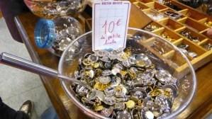 bowl of buttons at aiguille en fete trade fair