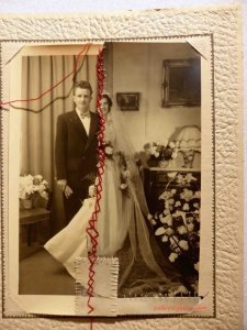 sewn and patched wedding photo possibly representing a divorce Aiguille en Fete