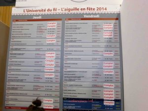 "listing of workshops Aiguille en Fete many are shown as ""complet"" (full)"