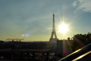 Maison Blanche terrace with view Eiffel Tower and setting sun