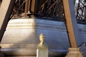 Bust of Gustave Eiffel by Antoine Bourdelle under the Eiffel Tower