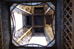 Looking up 57 meters through the transparent glass floor of the Eiffel Tower