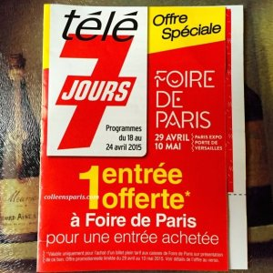 One way to get in to Foire de Paris at a reduced price - the TV guide attaches a ticket one or two weeks in advance to the front of the magazine - 2 for 1 offer