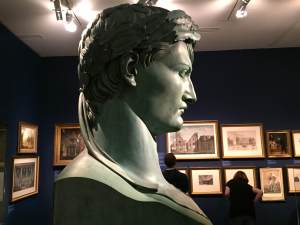 Bartolini's idealized bust of Napoleon, side view, originally placed at entry to Napoleon Museum