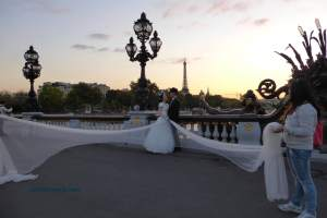 Pont Alexandre III at sunset; popular for the wedding shot
