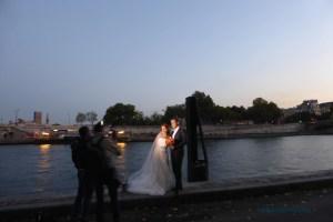 Couple along Port des Champs Elysées below Pont Alexandre III