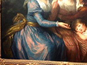 Highlights of the taffeta fabric-The Marquise de Pezay, born Caroline de Murat and the Marquise de Rougé, born Victurnienne Delphine Nathalie de Rochecouart, with her sons, Alexis Bonabes Louis Victurnien and Adrien Gabriel Victurnien (1787) shown at the 1787 Salon, Grand Palais, Paris