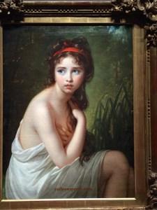 Commissioned painting of Julie Le Brun en baigneuse (1792)