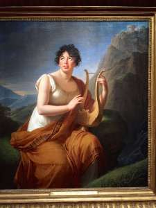 Germaine Necker, Baronne de Staël (1807-1809) as Corinne at the Cap Misène, close to Naples. Corinne or Italy is one of her novels (1807). Madame Le Brun was visiting her at Lake Leman (Lake Geneva) and Coppet
