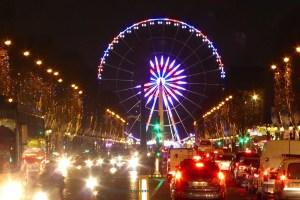 Ferris Wheel at Place de la Concorde and Champs Elysées illuminated