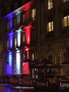 Friday, November 20, Radio station Europe 1 near Avenue Montaigne, red white and blue