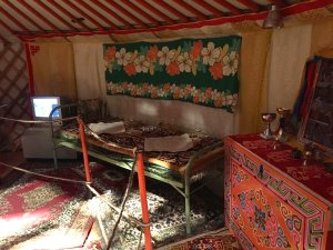 Yurt, traditional nomad home with many modern features and electronics at Musee de l'Homme, the kitchen, bed and tv
