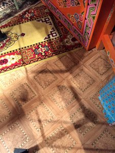 Yurt, traditional nomad home with many modern features and electronics at Musee de l'Homme