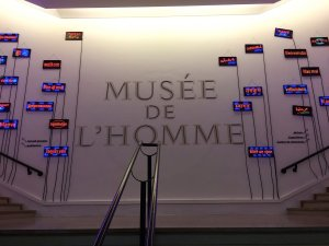 Neon signs in various languages. Welcome to the renovated Musée de l'Homme