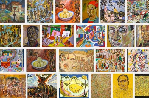 Beauford Delaney exhibition in Paris - groupings of some of his works. Exhibit in 2016 Wells International Foundation