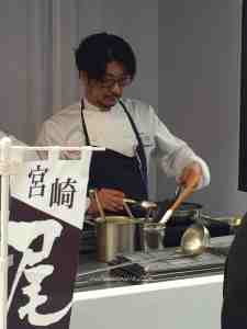 Ryuji Teshima chef at one-star restaurant Pages, one of the rare chefs actually preparing the main course at the Taste of Paris Grand Palais