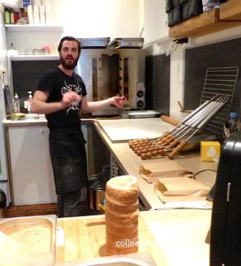 Alexandre making a chimney cake - Alma Chimney Cake Factory, 22 rue Réaumur