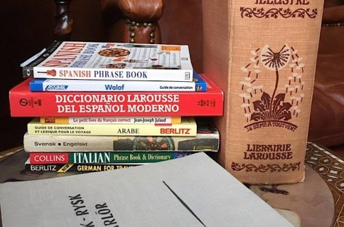 Foreign language books on a table in my library