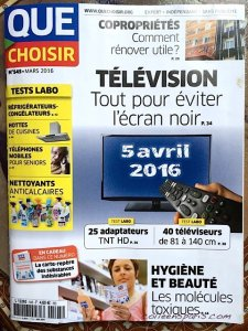 Cover of Que Choisir consumer magazine March 2016