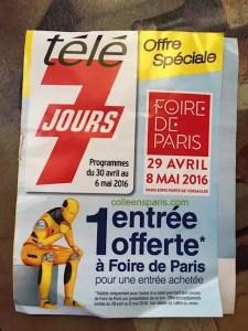 Two-for-one supplement for Tele7Jours TV guide Foire de Paris