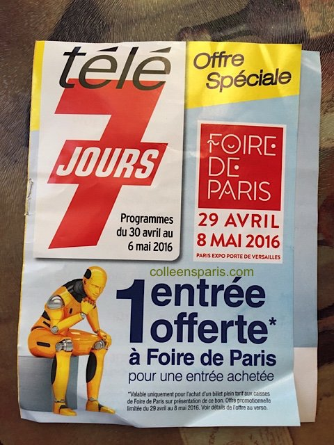 Two-for-one supplement for Tele7Jours TV guide Foire de Paris