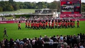 British Royal Guards marching band at Longchamp horse race Qatar Prix Arc de Triomphe Paris