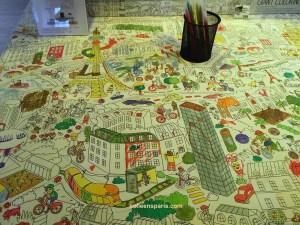 A large coloring mat at Paris Rendez-vous