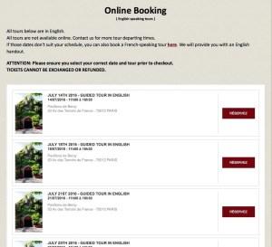 Online booking page for Musée des Arts Forains