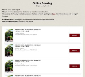 Online booking page for Musée des Arts Forains
