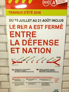 Until August 21, no service between La Défense and Nation alternatives available