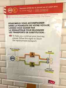Poster showing suggestions for transportation between Paris Austerlitz and Javel