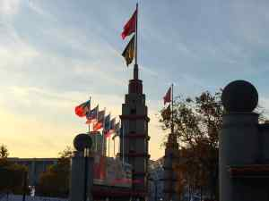 Flags at Porte de Versailles entry and exit to Pavilion 5