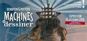 poster for Schuiten & Peeters Machines à dessiner at Musée des arts et Métiers le cnam exhibition