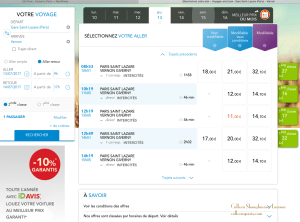 Example of times and ticket prices Saint-Lazare to Vernon-Giverny
