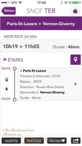SNCF train departure times Paris Saint-Lazare to Vernon-Giverny