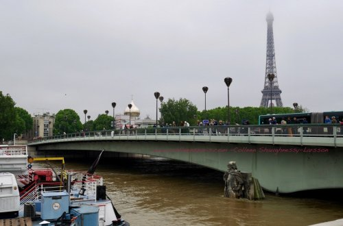 Image of le Zouave statue, Pont de l'Alma and the Eiffel Tower during Paris Seine flooding