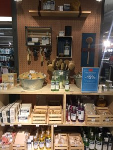 Droguerie in the hardware (bricolage) section of BHV department store - made in France - soaps Marseille, brushes, liquid products, cleaning, household