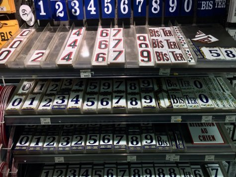 Enamel numbered plaques and door signs in BHV/Marais basement hardware/bricolage department