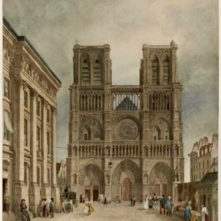 Illustration of Notre-Dame 1833 Charles Frechot le Parvis de Notre-Dame