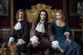 Characters from BBC Versailles series, Evan Williams, Jessica Clark, and Alexander Vlahos in Versailles (2015)