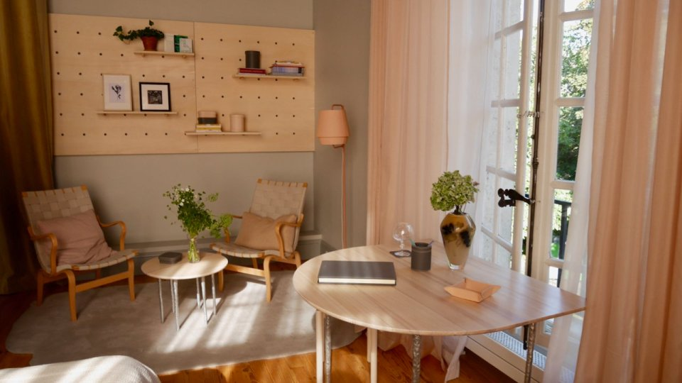 One of the apartment rooms, Swedish designers planned for outward opening windows