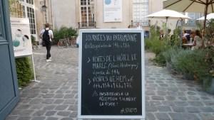 l'Institute Suédois entry - sign for Journées du patrimoine