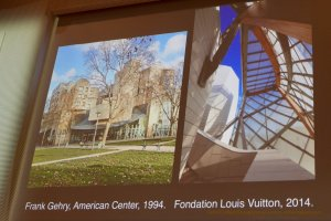 Projected images of American Center-Cinematic Paris and Foundation Louis Vuitton Frank Gehry