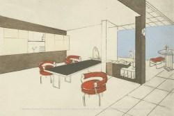 Apartment dining room of Charlotte Perriand Charlotte Perriand. Perspective du Bar et de la salle à manger de la place Saint-Sulpice, 1927. ©Adagp, Paris, 2019 ©AChP