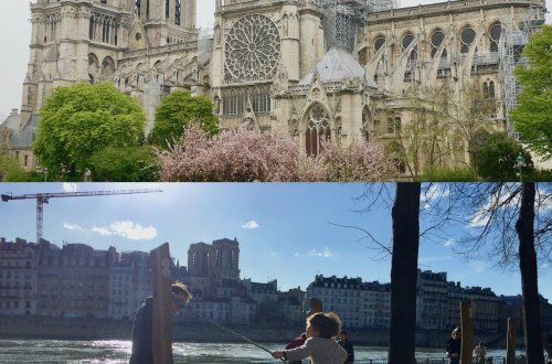 Image of Notre Dame after fire and child on swing