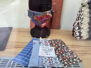 Shop window with fashion masks