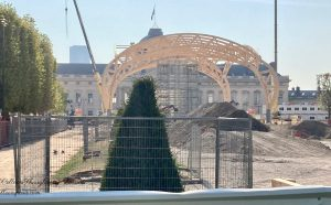 View of temporary Grand Palais and l'Ecole militaire