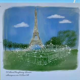 Kera Till image of Temporary Grand Palais in pinpoints with Eiffel Tower in the background